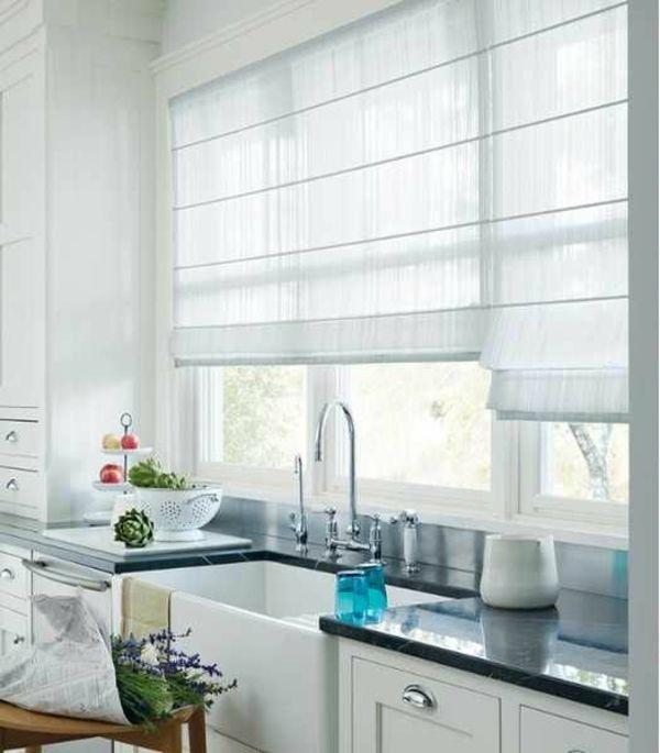 dekorative fenstergestaltung leicht gardinen rollos weiß, Wohnzimmer