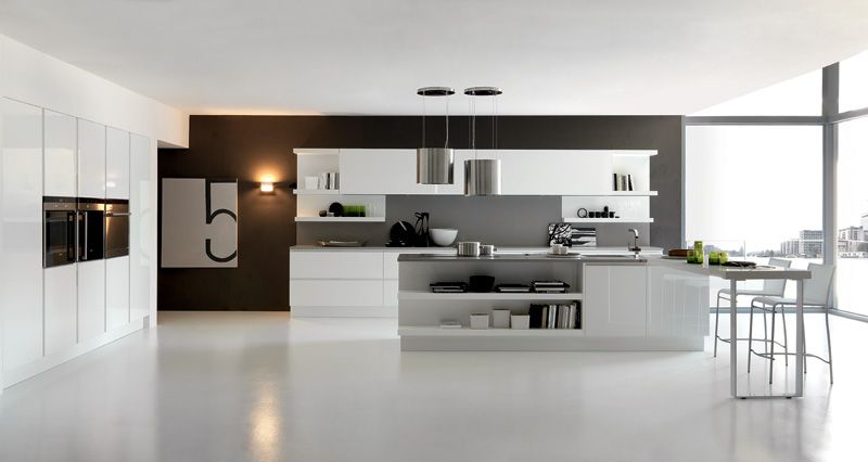 Stylish Fascinating And Excellent White Kitchen Concept With Ultra Modern Furnishing For The