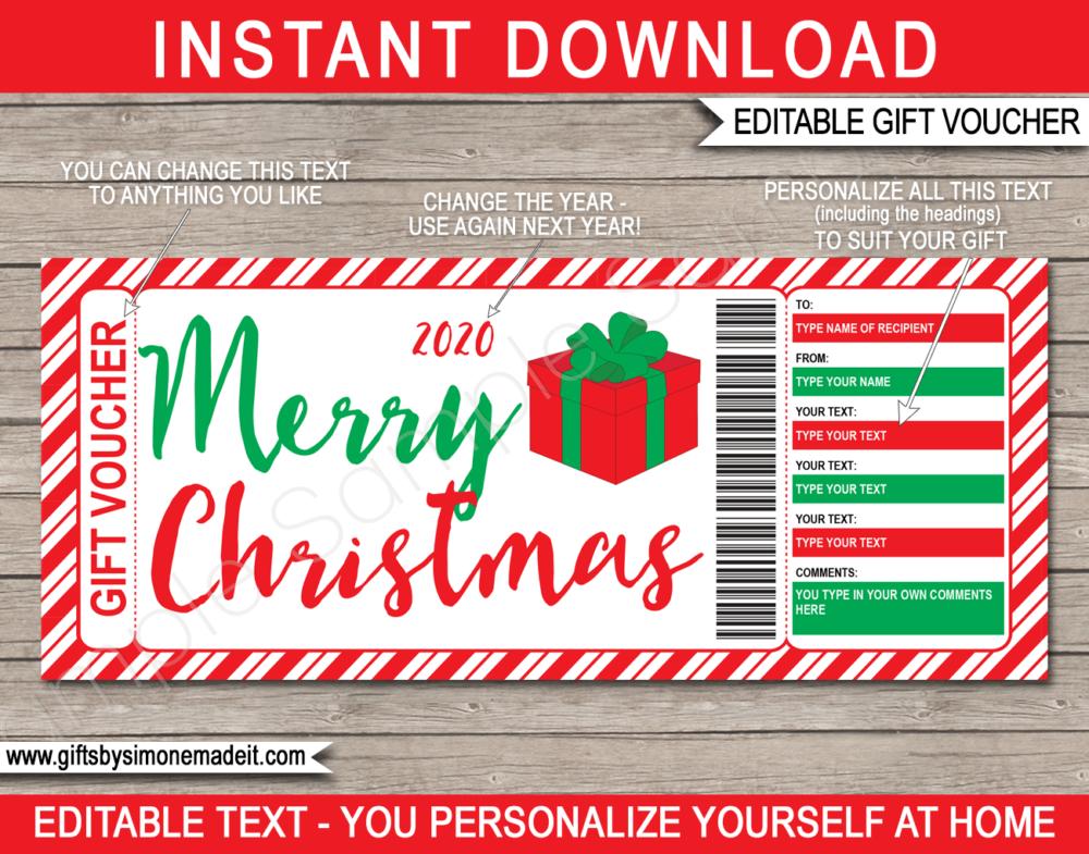 Christmas Gift Voucher Template Editable Printable Gift Certificate Christmas Gift Voucher Templates Christmas Gift Certificate Template Christmas Gift Certificate