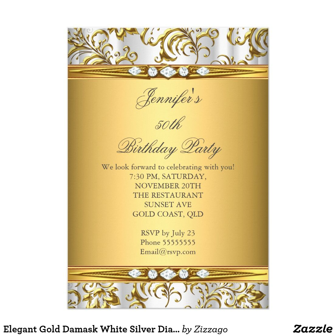 Elegant Gold Damask White Silver Diamond Birthday Card Elegant Gold Floral Damask and Silver Silk White Diamond Birthday Party Gold woman's Girl. Invitation Formal. Use for any event invitation. Customize to change age and details. Customize with your own details and age. Template for Sweet 16, 16th, Quinceanera 15th, 18th, 20th, 21st, 30th, 40th, 50th, 60th, 70th, 80th, 90, 100th, Fabulous product for Adult Women, teen Girls, Zizzago created this design PLEASE NOTE all flat images! They Do…