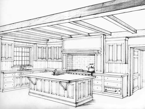 kitchen perspective drawing 2Point Perspective Kitchen Drawing