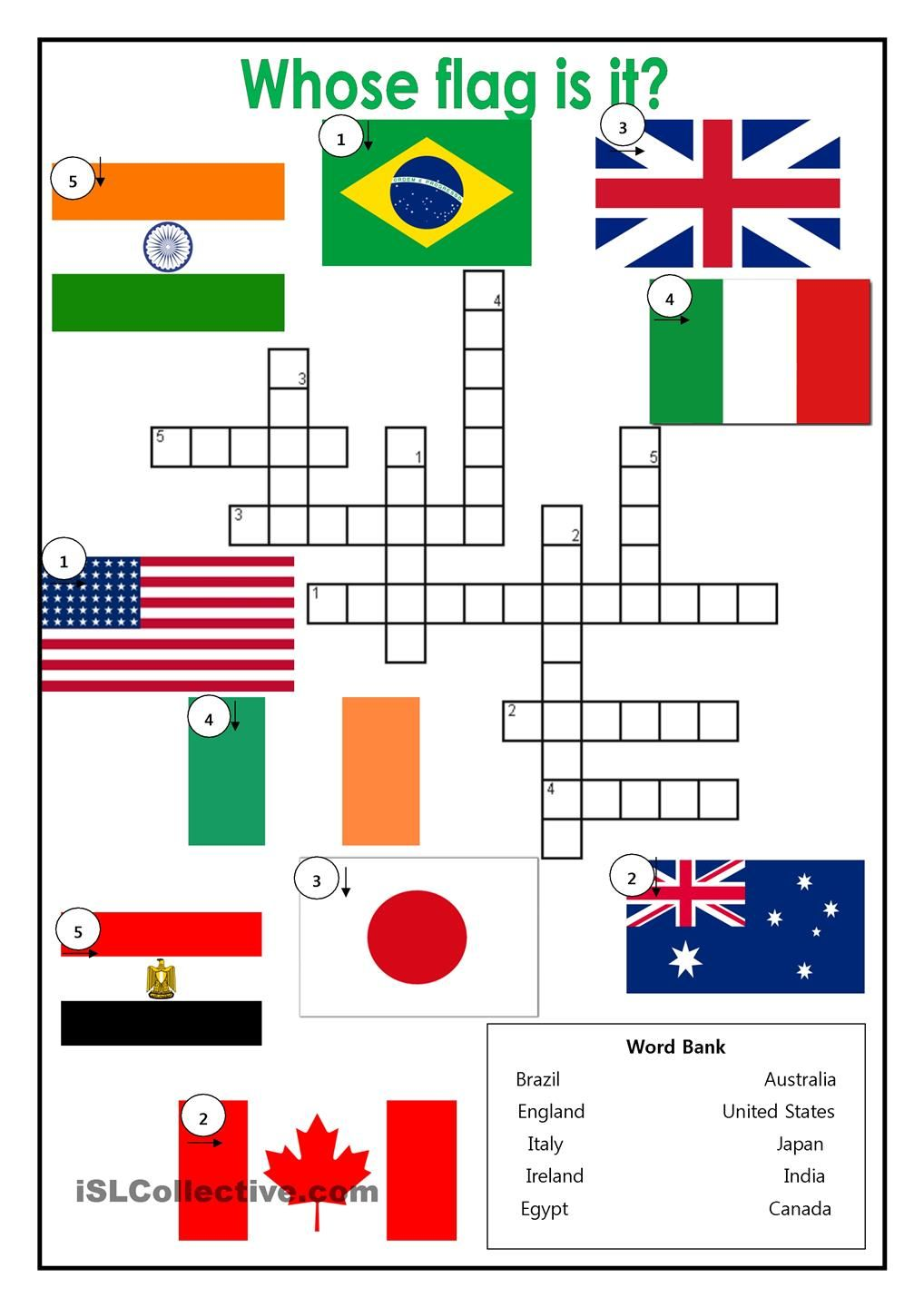 Country Flags Crossword  ESL worksheets of the day  Pinterest