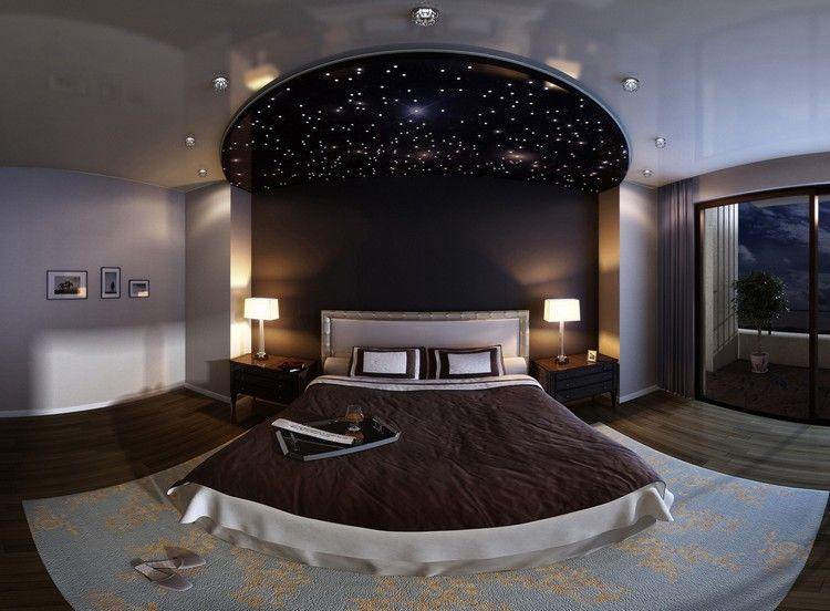 Sternenhimmel mit LED Glasflasern im Schlafzimmer gestalten - schlafzimmer beleuchtung ideen