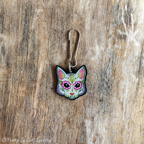 LAST ONE Cat in Grey Collar Charm / Key Chain / Zipper