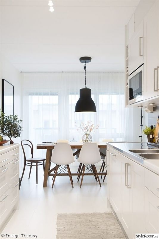 Wood table with mix of modern and cafe chairs. Plus a huge industrial light for a chandelier (Iu0027ve seen one of these at Ikea) & Wood table with mix of modern and cafe chairs. Plus a huge ...