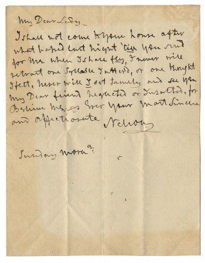 Nelson letter to mistress Lady Hamilton set for $13,000 auction ...