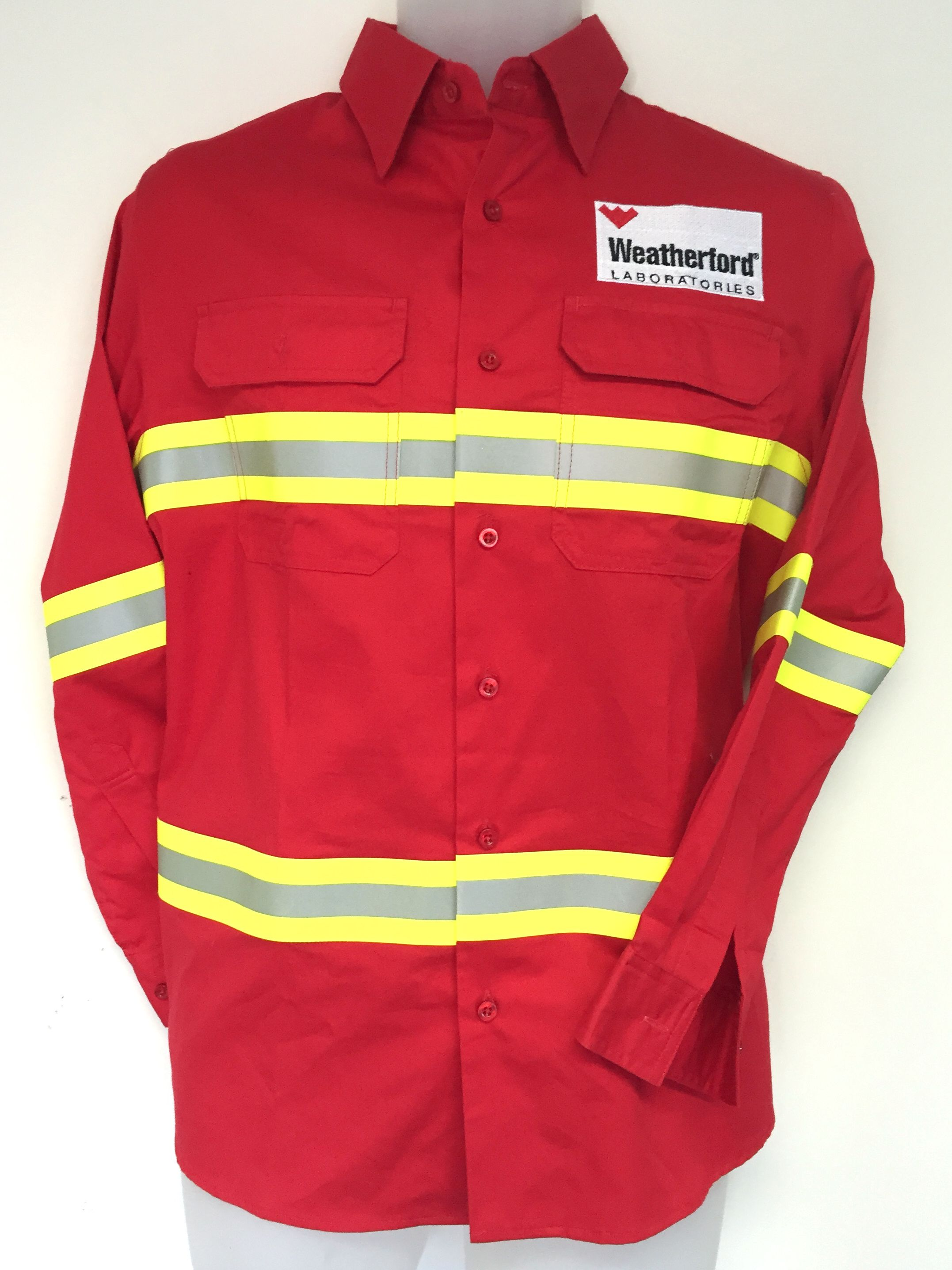 Check out this bright and different Red HI VIS cotton drill shirt ...