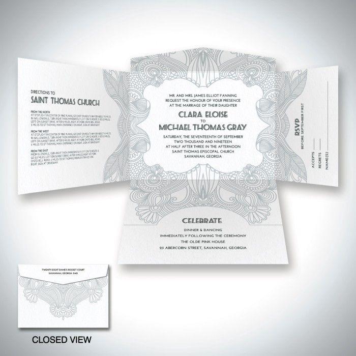 art nouveau self mailer wedding invitation einvitecom lined envelope return address printing - Return Address Wedding Invitations