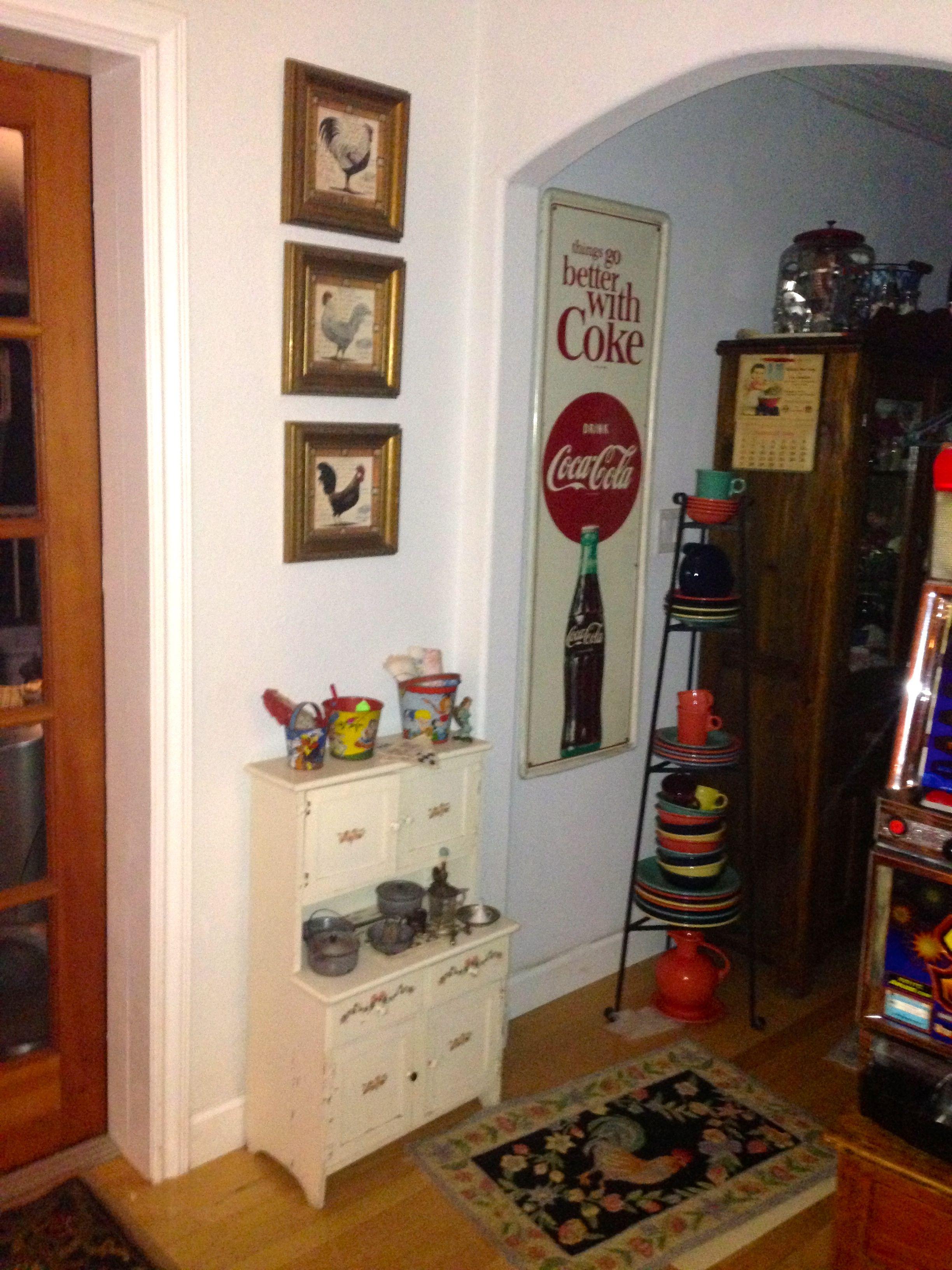 My Vintage Child's Hoosier cabinet, with antique toy kitchenware.