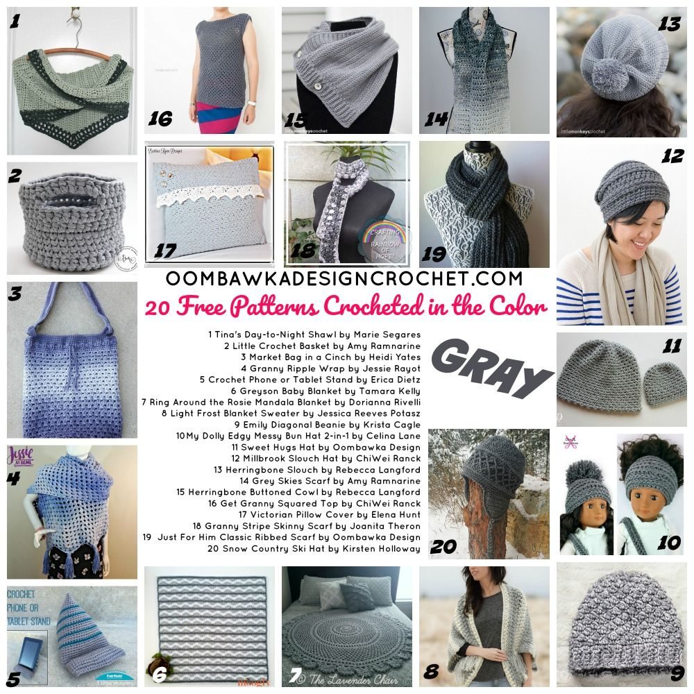 20 Free Patterns Crocheted in the Color Gray | Colores grises, El ...