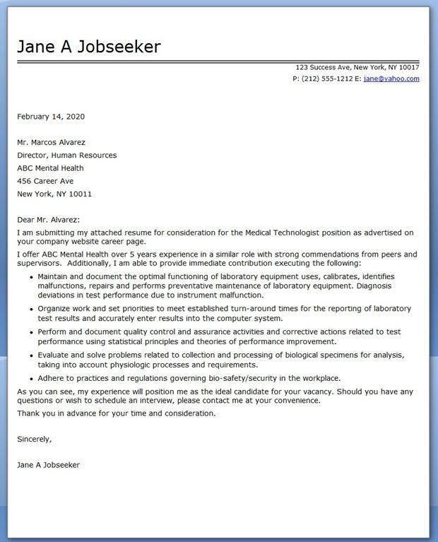 Medical Technologist Cover Letter Examples Resume Downloads Cover Letter For Resume Job Cover Letter Teacher Cover Letter Example