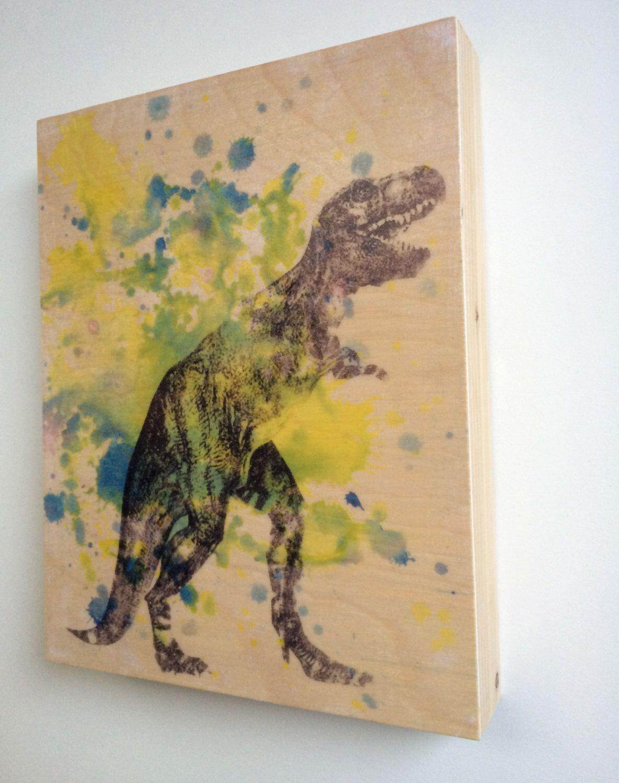 Wood Wall Art Panel Dinosaur Tyrannosaurus Rex Trex Animal Art on ...