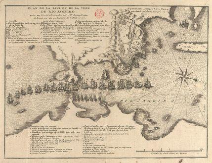 CC_35_P2 – René DUGUAY-TROUIN  (1673 – 1736)  «Plan de la baye de la ville de Rio Janeiro prise par l'escadre commandée par Mr. Duguay Trouin, et armée par les particuliers de St. Malo en 1711».  [S.l.: s.n., post. 1711]. Gravura; 19,8x26,4 cm, em folha de 25,2x34,8 cm. Cota BNP C.C. 35 P2. Disponível em: http://purl.pt/889