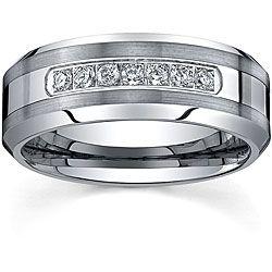 Men S Tungsten Carbide 1 5ct Tdw Diamond Comfort Fit Band 8 Mm