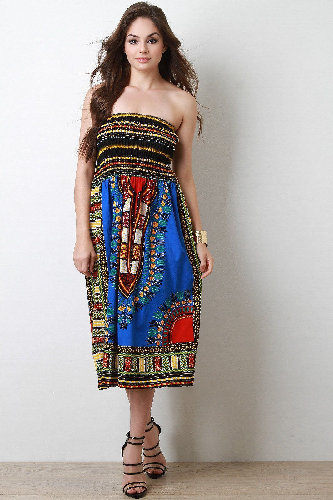 Dashiki print smock tube dress smocked tube dress maxi