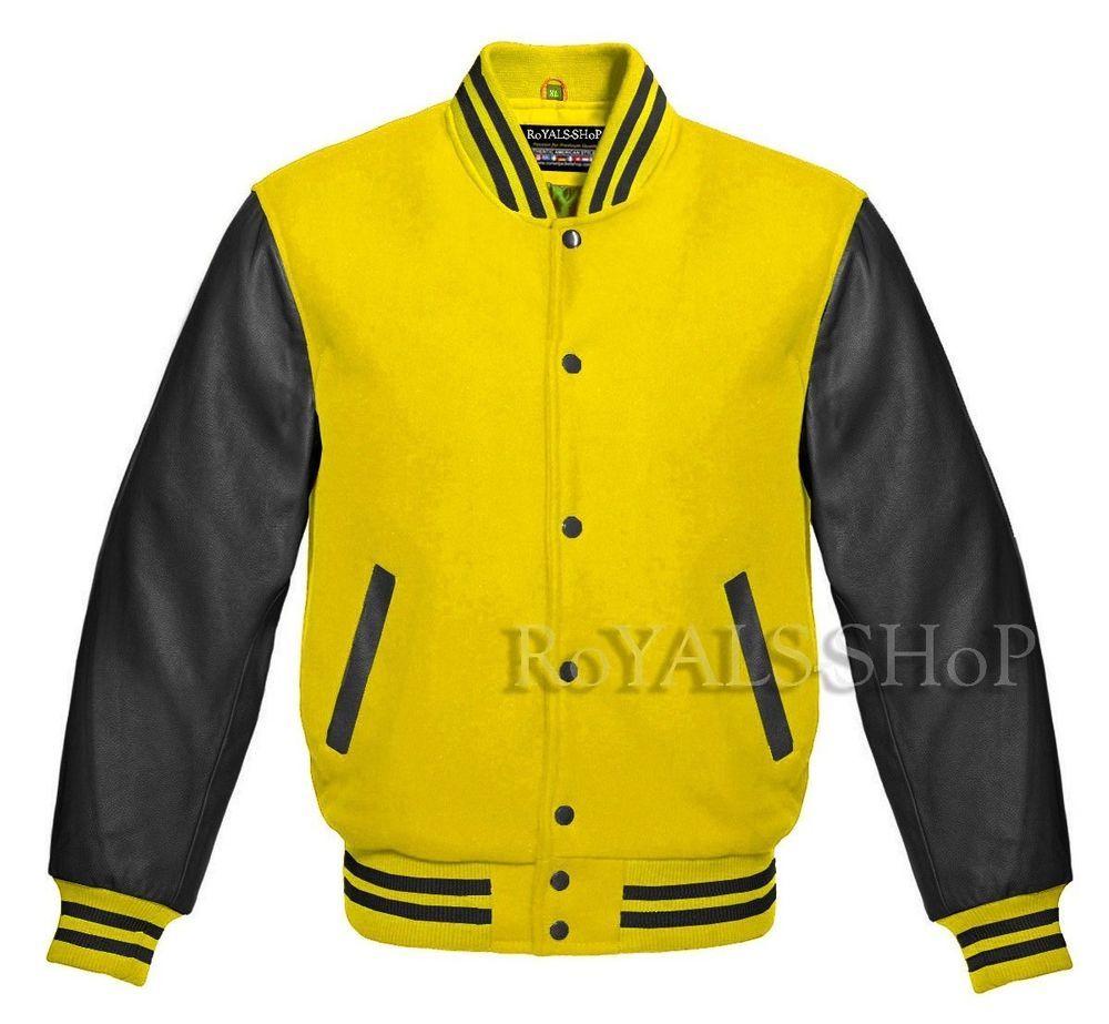Varsity Yellow Wool And Genuine Black Leather Sleeves Letterman Baseball Jacket Royalsshop Lettermanbase Leather Sleeve Jacket Baseball Jacket Leather Sleeve