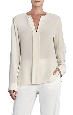 Carolyn Long-Sleeve Silk Top | BCBG