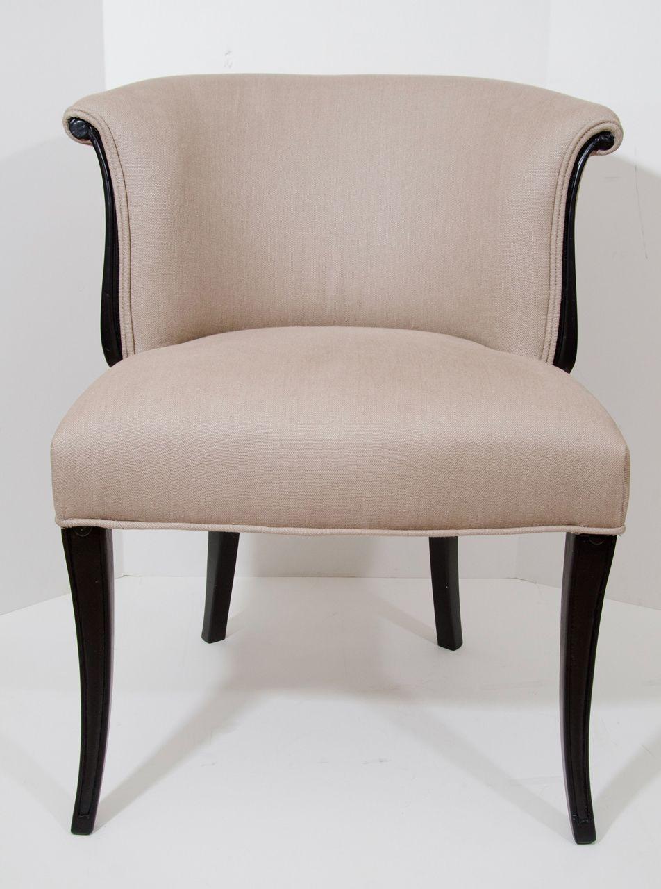 Terrific Pair Of Black Lacquer Petite French Chairs Furniture Uwap Interior Chair Design Uwaporg