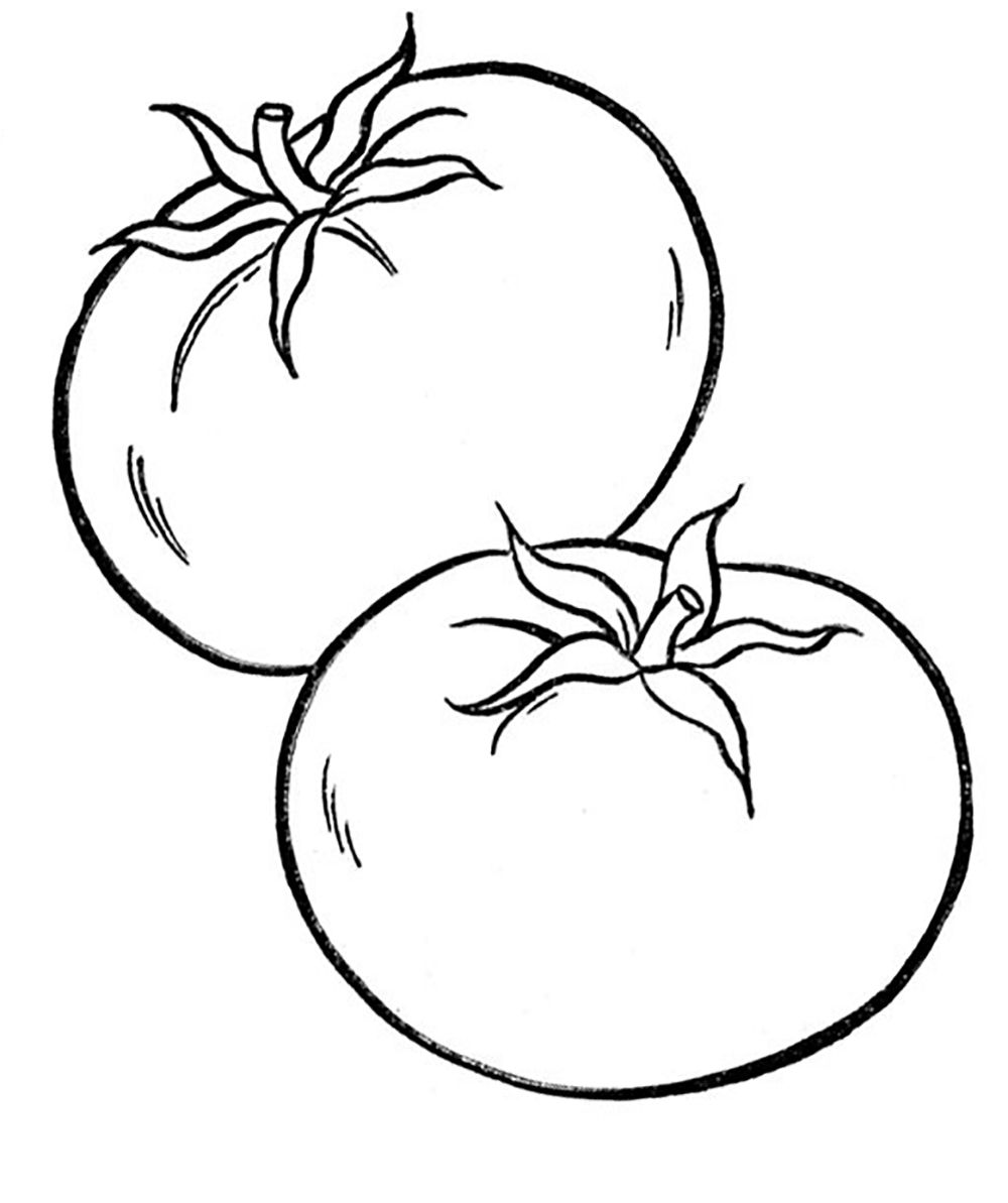 Vegetables Food Healthy Tomato Coloring Pages