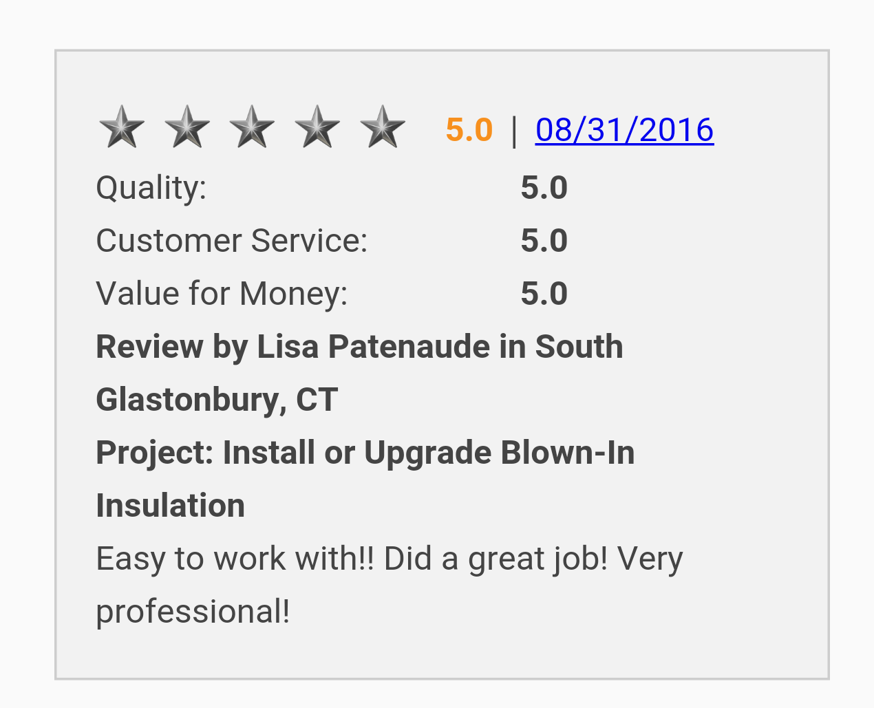 I Never Get Tired Of Getting 5 Star Reviews From Our Customers Always Appreciate Them Taking Time Out Of Their Day To Send A Blown In Insulation Job Time Out