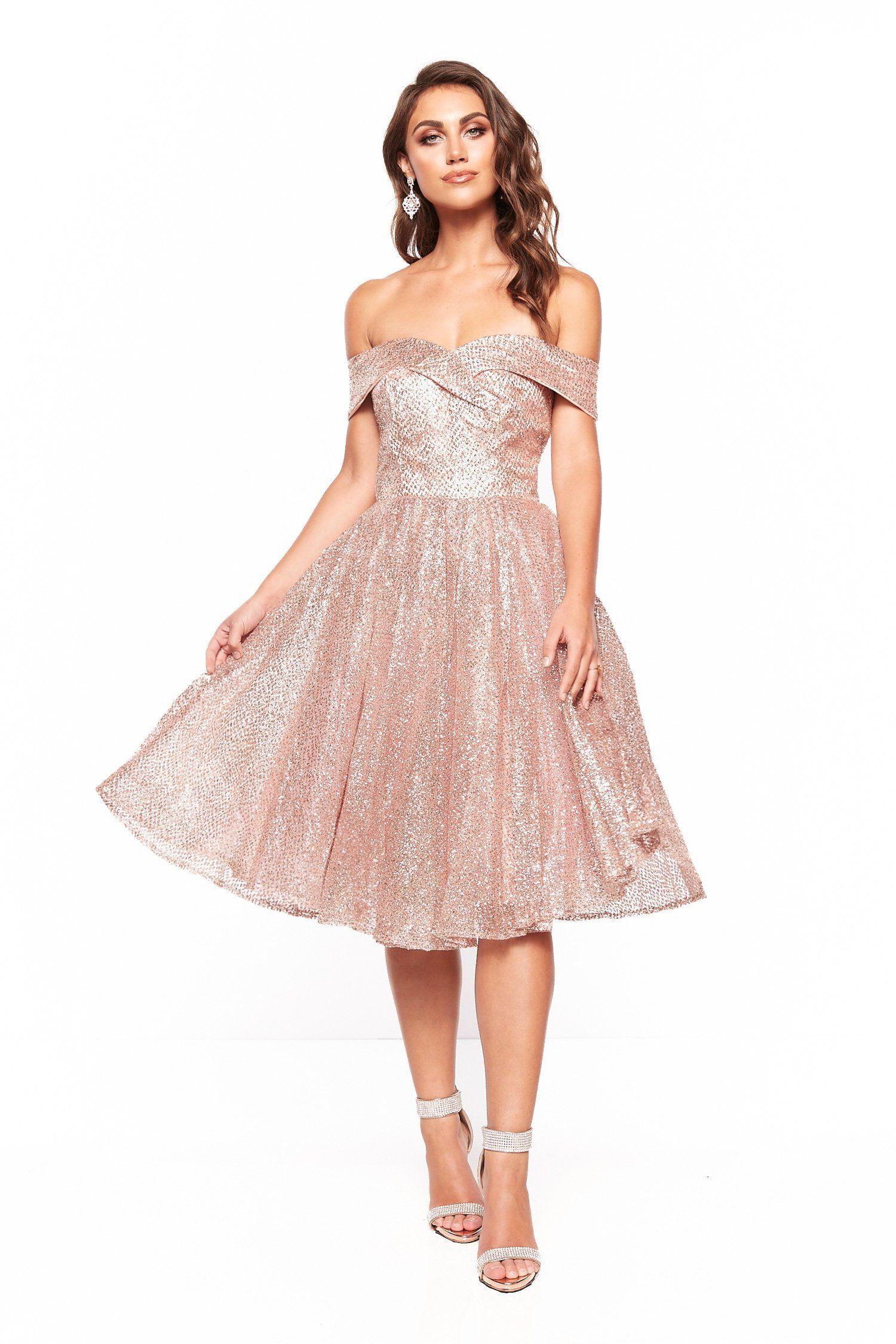 a8b07533926bd0 A&N Nyla Glitter Cocktail Dress - Rose Gold in 2019 | Glitter ...