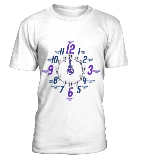 Real Madrid Cl Titles History Clock Real Madrid Uefa Champions League 2017 Winners T Shirt Champions League Titles History Ao Sơ Mi Thời Trang Mau Sắc