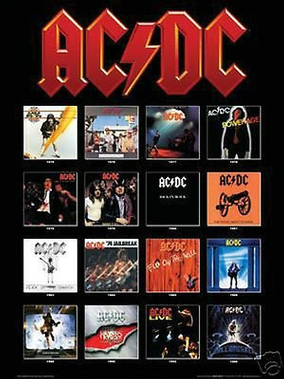 AC//DC BACK IN BLACK ROCK MUSIC PICTURE POSTER size 24x36