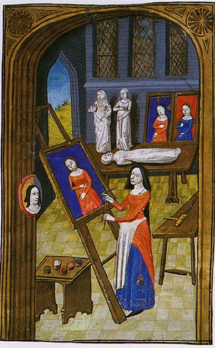 Artista nella sua bottega. c. 1470. Boccaccio, Des clères et del nobles femmes. New York, New York Public  Library Spencer Collection, ms. 33, f. 37v - woman painting in an apron