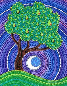 Leaf Dot Art Google Search Blue Landscape Stippling Art Tree
