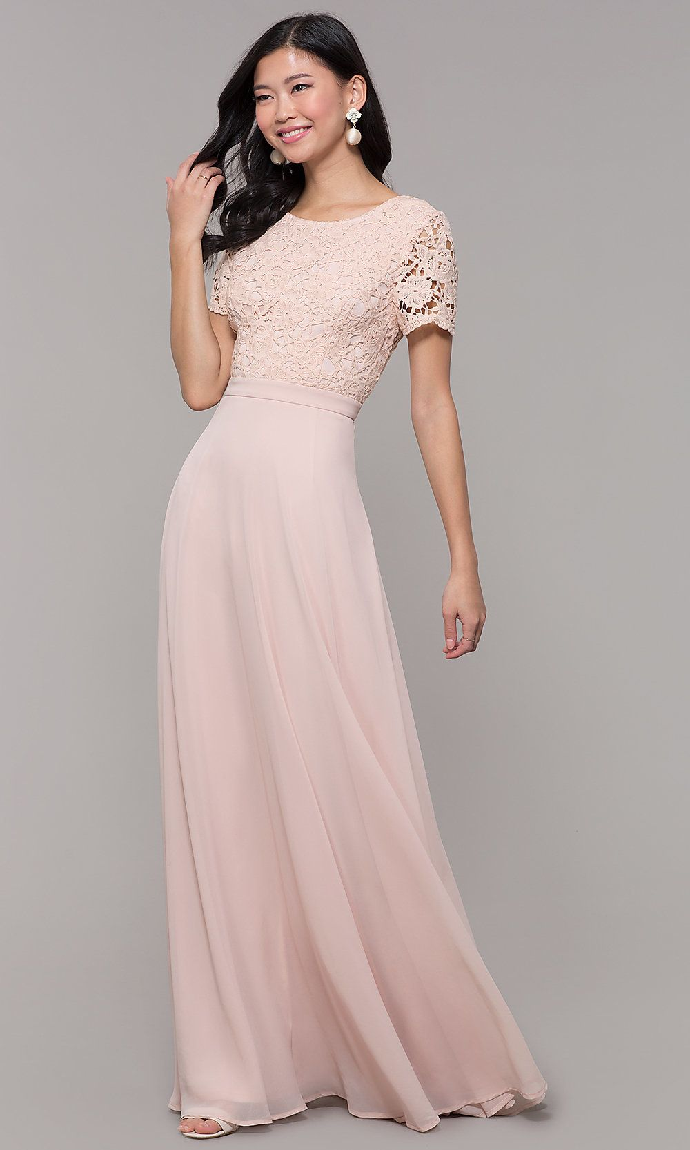 c1ea98609c1 Long Chiffon Short-Sleeve Lace-Bodice Prom Dress in 2019