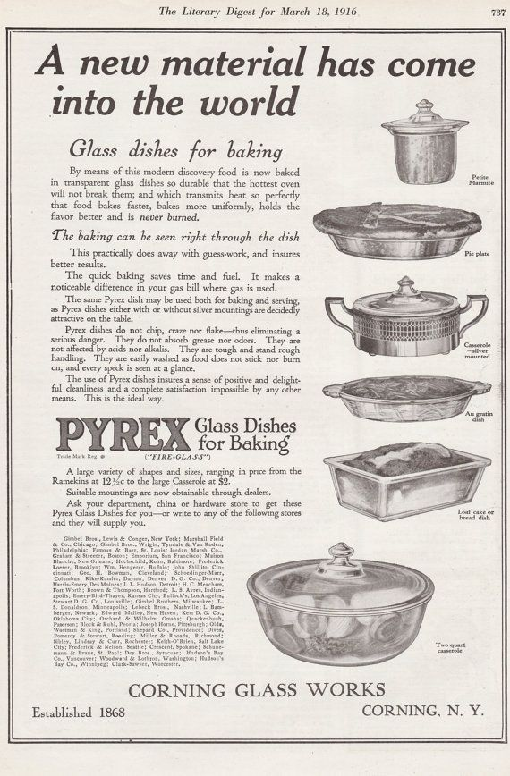 Authentic c. 1916 Full Page Advertisement for Pyrex ...