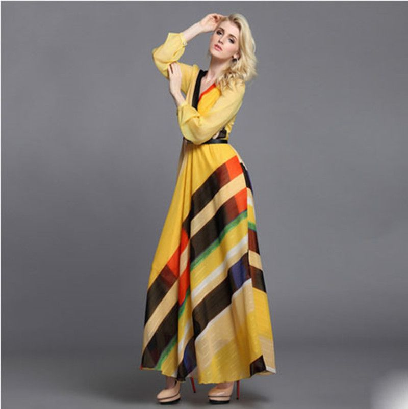 2014 new fashion Summer V-neck bohemian stripe maxi dresses long ...
