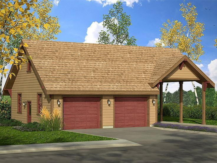 051G0098 2Car Garage Plan with Boat Storage & Carport