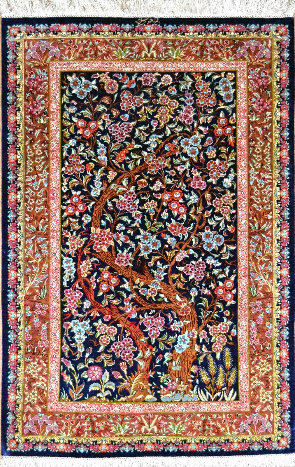 Qom Qum Silk Persian Rug Silk Persian Rugs Oriental Rug Designs Persian Rug