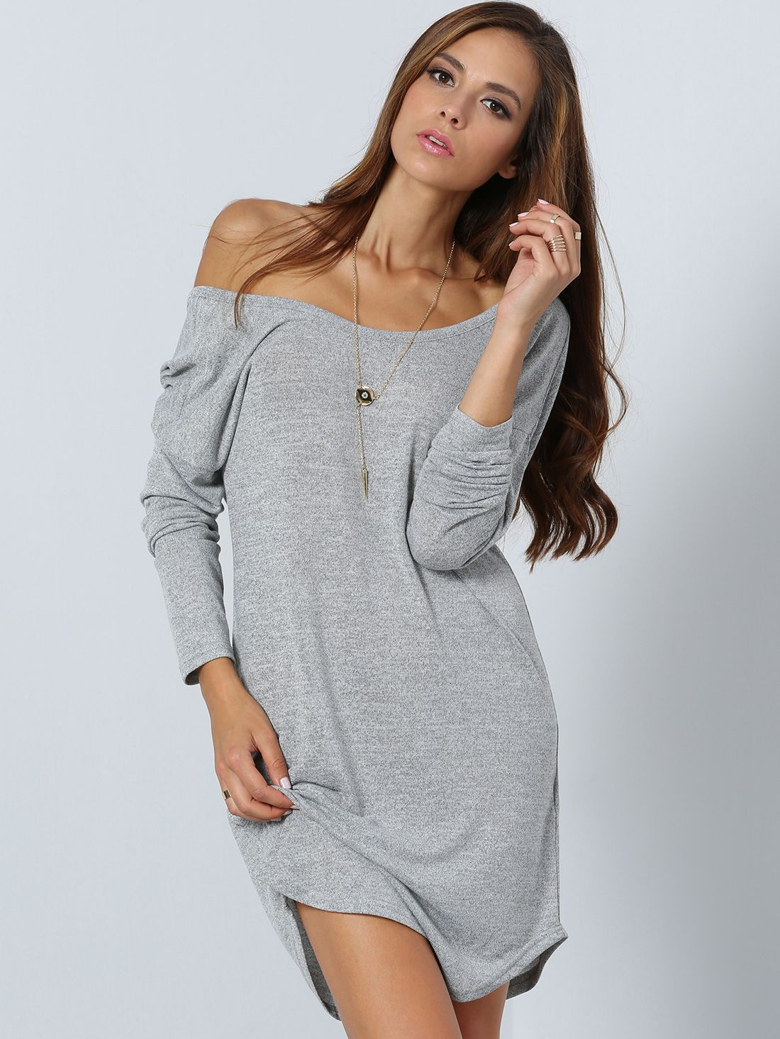 740adfd5d6 Shop Grey Long Sleeve V Back Dress online. SheIn offers Grey Long Sleeve V  Back Dress & more to fit your fashionable needs.