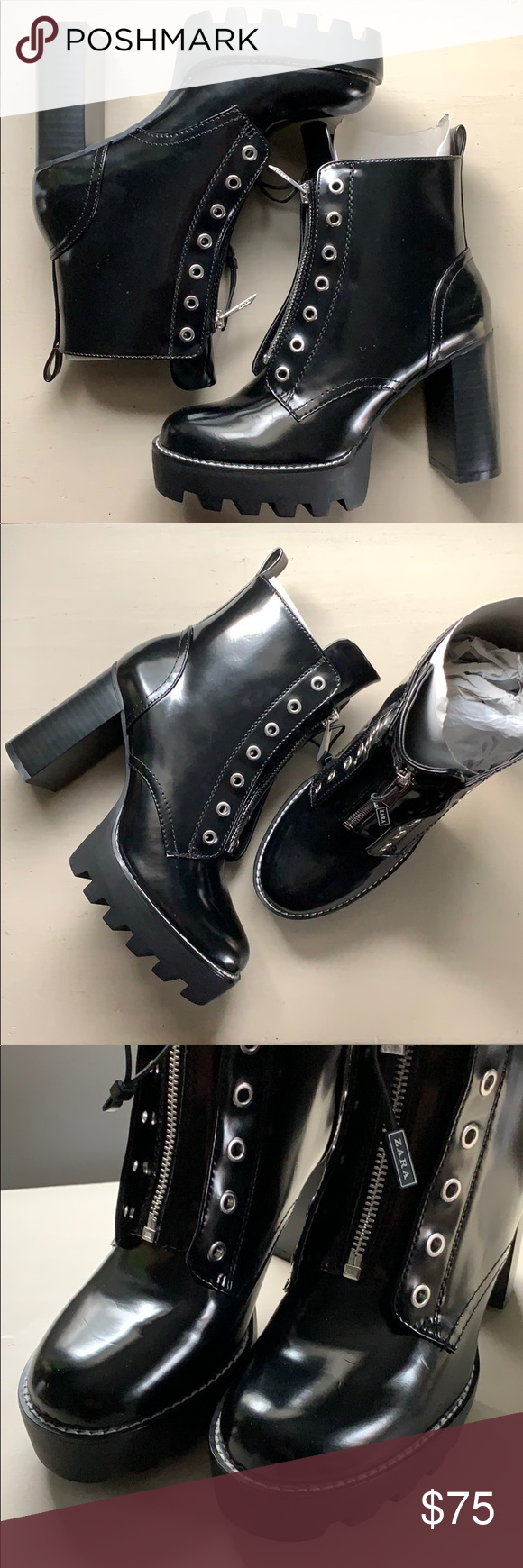 541b10a7b7cd Zara chunky cleated platform zipper ankle boots Amazing   super trendy tall  cleated sole chunky platform
