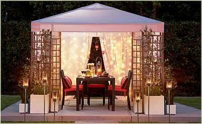 Outdoor Gazebo Lighting Gorgeous Love The Mix Of Curtains And Twinkle Lights  Garden  Pinterest Review