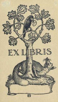 Ex Libris - Zorro y cuervo