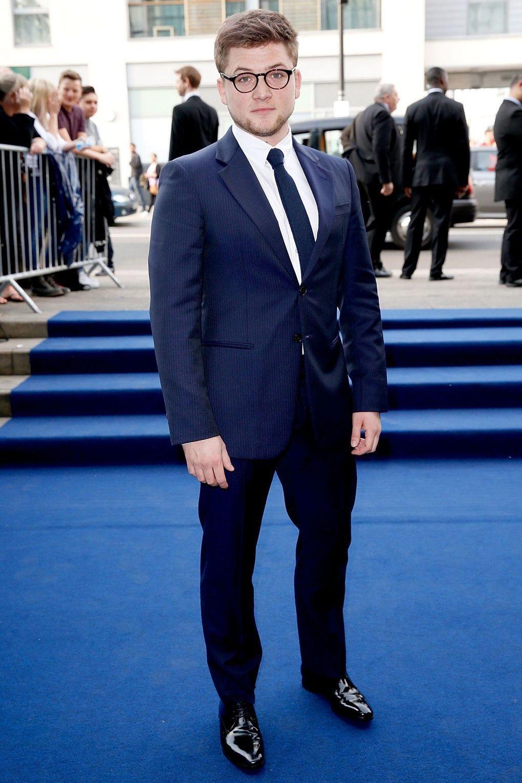 Blue dress pants with black shoes