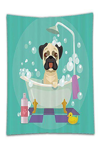 Chaoran Tablecloth nursery decor Collection Pug Dog in Bathtub ...