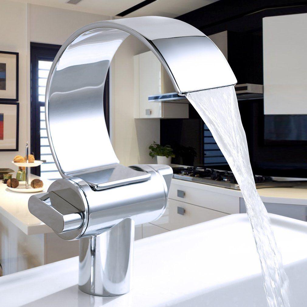 Auralum® Wasserhahn Waschtischarmatur Armatur Für Waschbecken Waschtisch  Fragezeichen Wasserfall Chrom