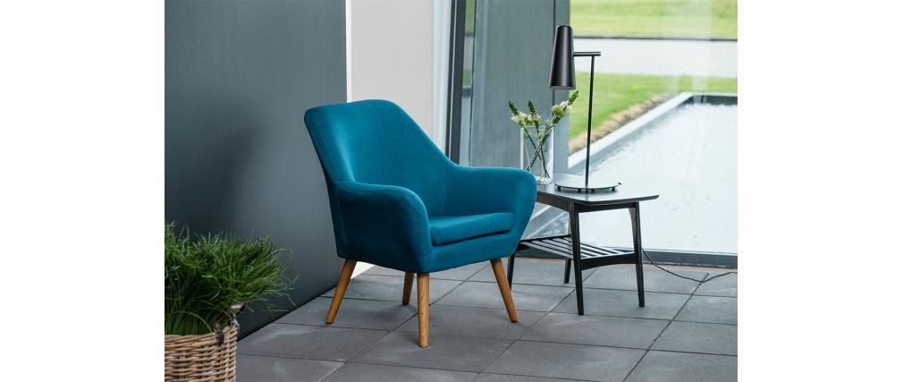 Fauteuil design bleu pétrole MIRA - Miliboo | meubles vintage ...