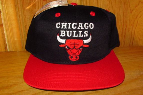e0477c08cfb NWT Original Deadstock VINTAGE 90s Chicago BULLS NBA HAT Basketball Two  Toned Snapback Drew Pearson