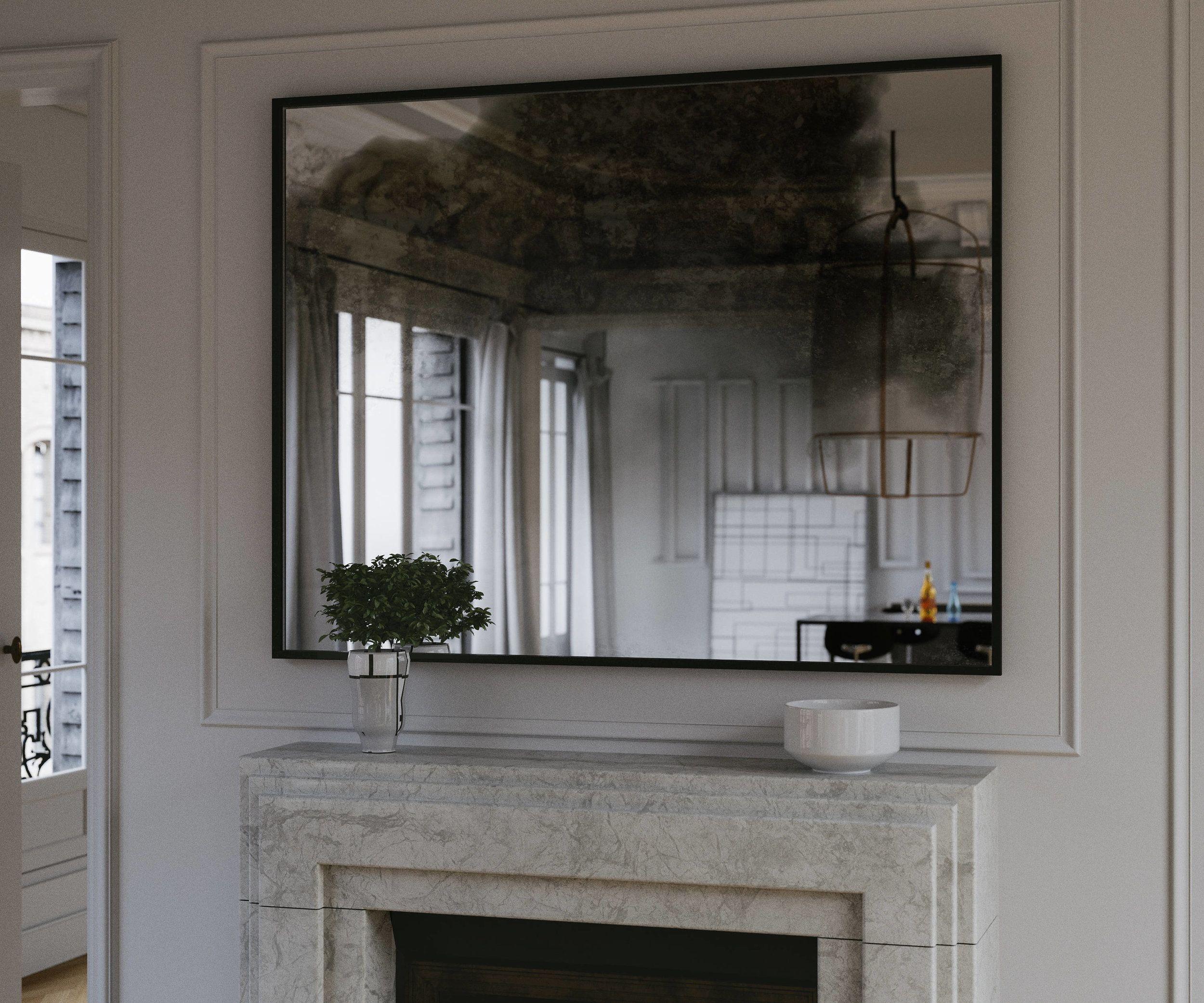 36 X 32 Mirror With Iron Black Frame Custom Modern Hanging Etsy Lighted Wall Mirror Mirror Design Wall Framed Mirror Wall