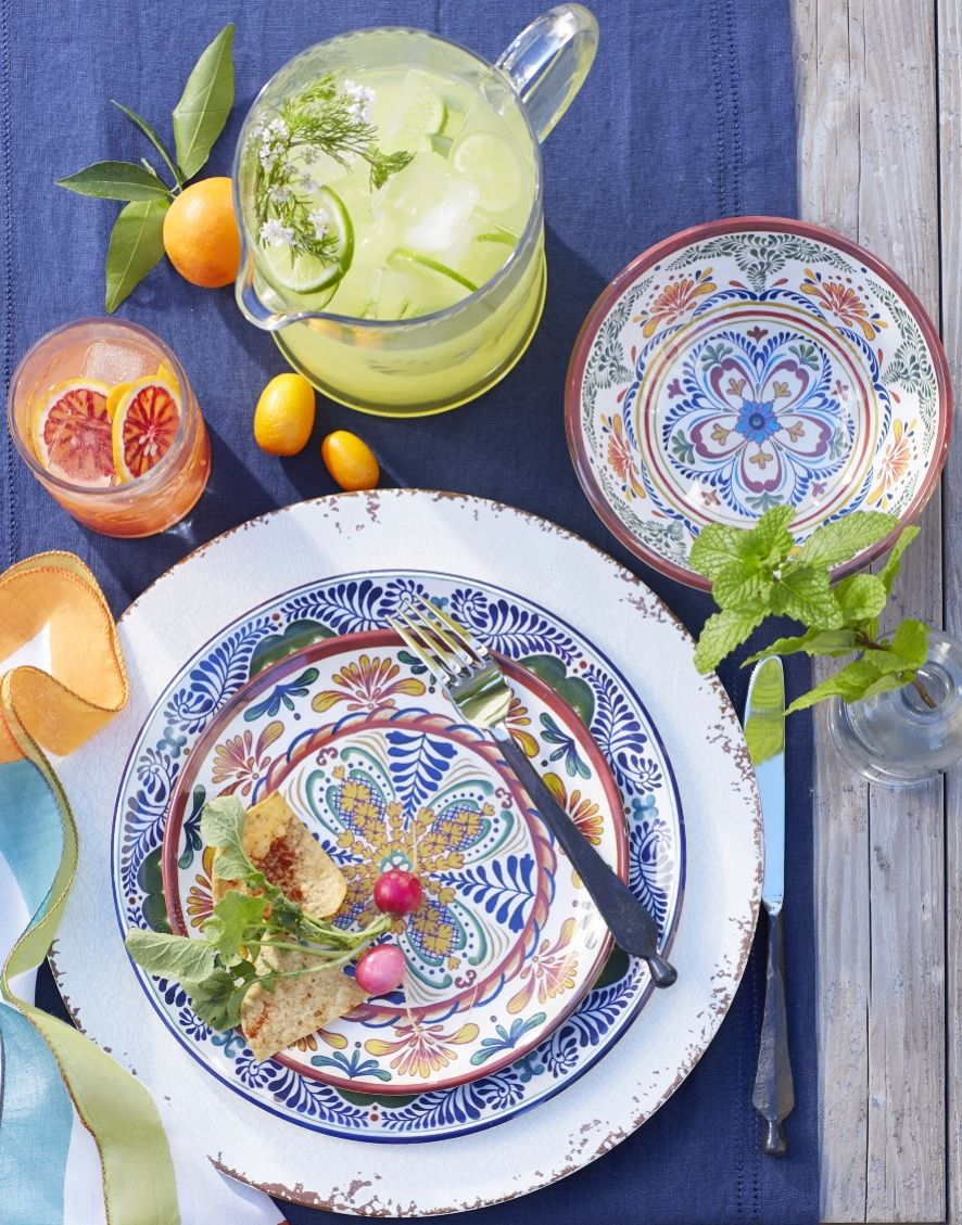 Veracruz Dinner Plates Inspired By Mexican Pottery Coastal Decor