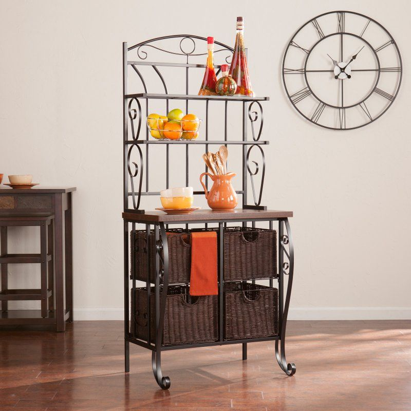 Southern Enterprises Bakers Rack With Storage Baskets Ka1885