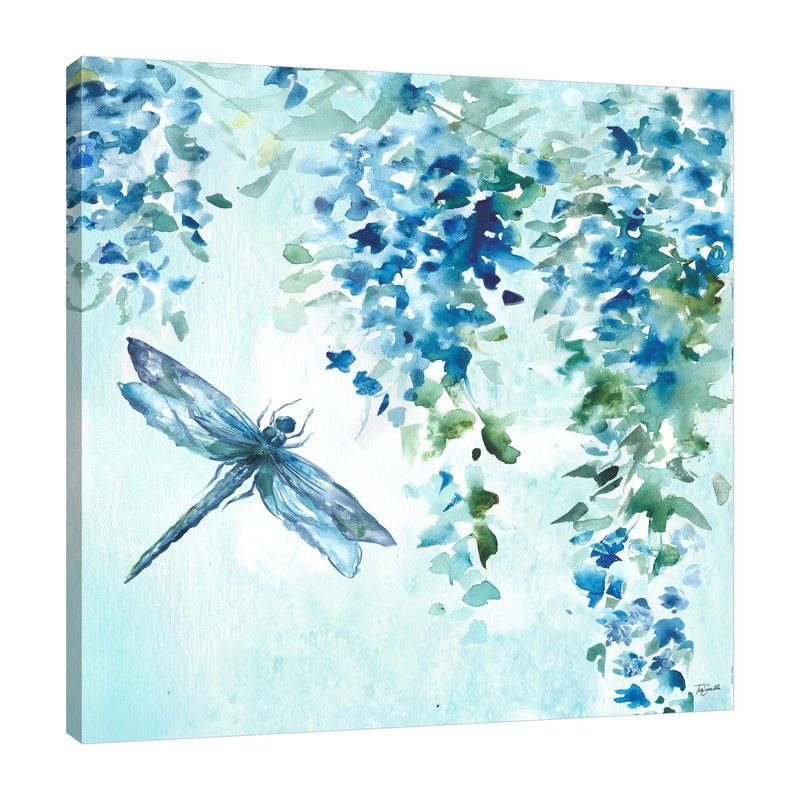 Yellow Silver Poppies Ii Print On Wrapped Canvas Dragonfly Wall Art Dragonfly Painting Dragonfly Prints