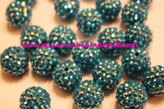 Carribean Blue 16mm Rhinestone Resin Balls   by cutegirlbeads, $6.00