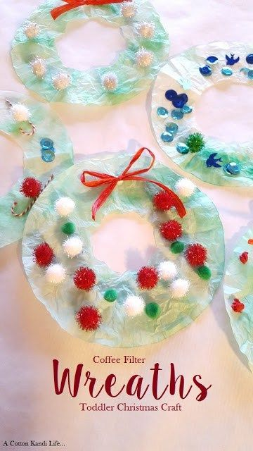 coffee filter wreaths toddler christmas craft a cotton kandi life diy christmas crafts for kids crafts for babies baby christmas craft ideas