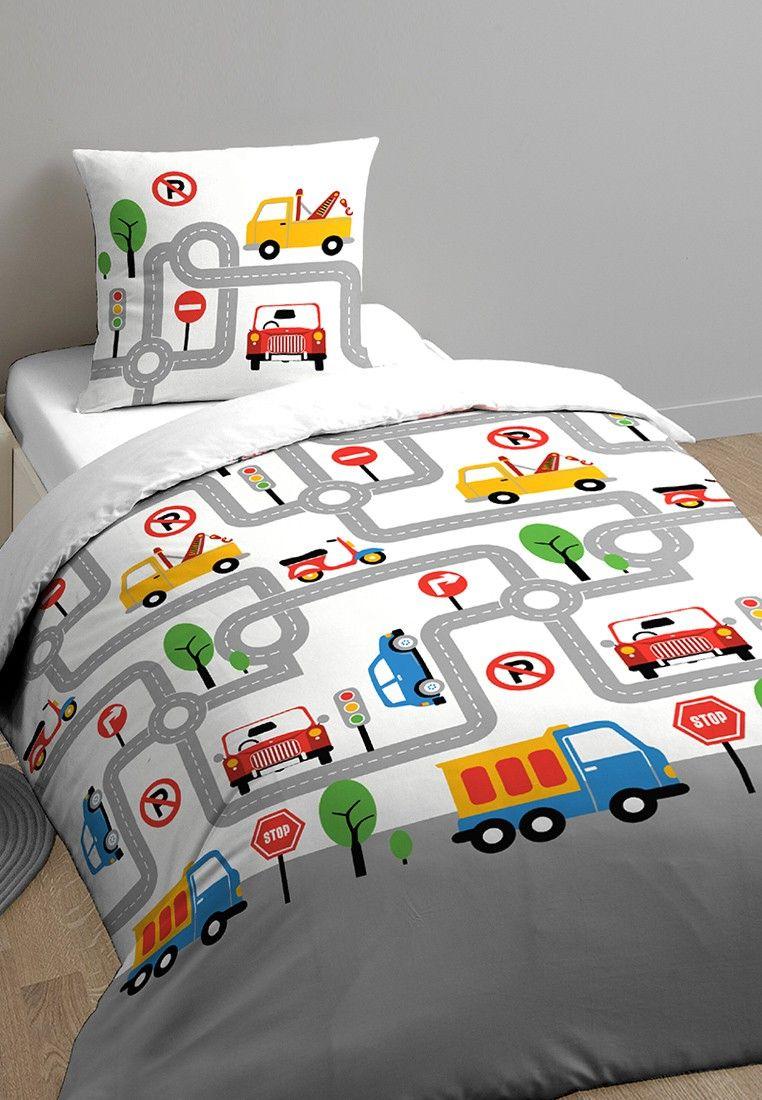 parure de lit enfant imprimee en route